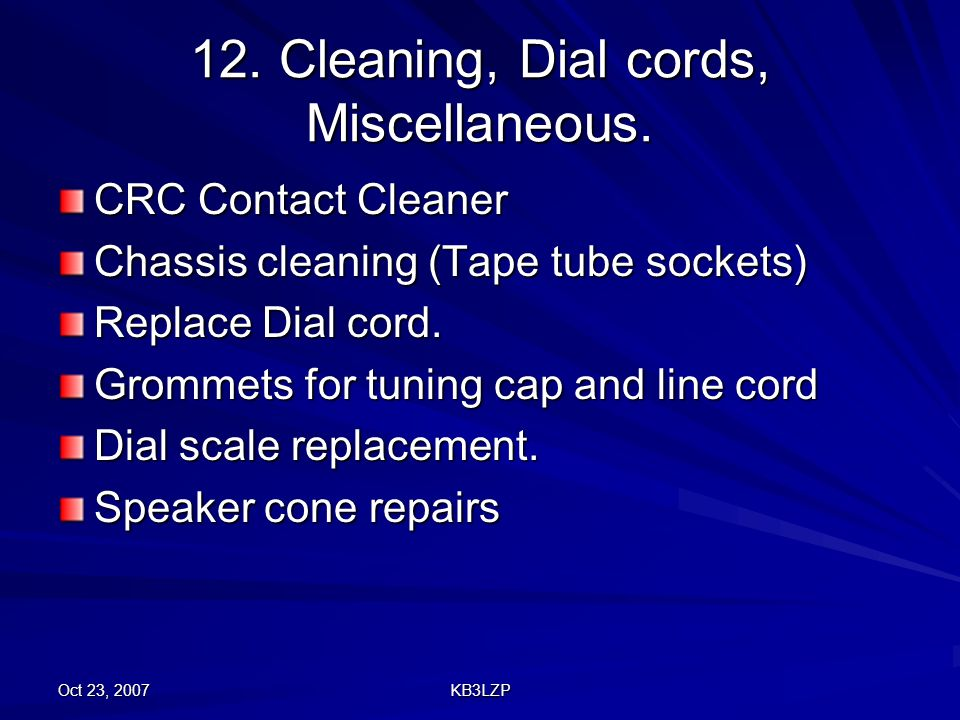 12. Cleaning, Dial cords, Miscellaneous.