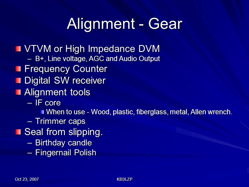 Alignment - Gear VTVM or High Impedance DVM Frequency Counter