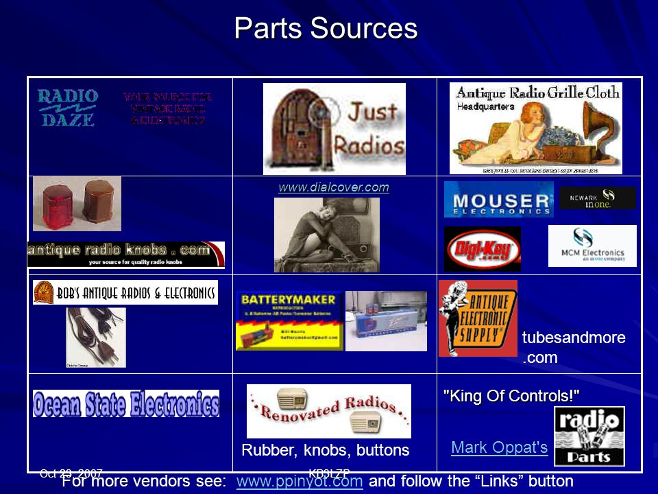 Parts Sources tubesandmore.com King Of Controls! Mark Oppat s