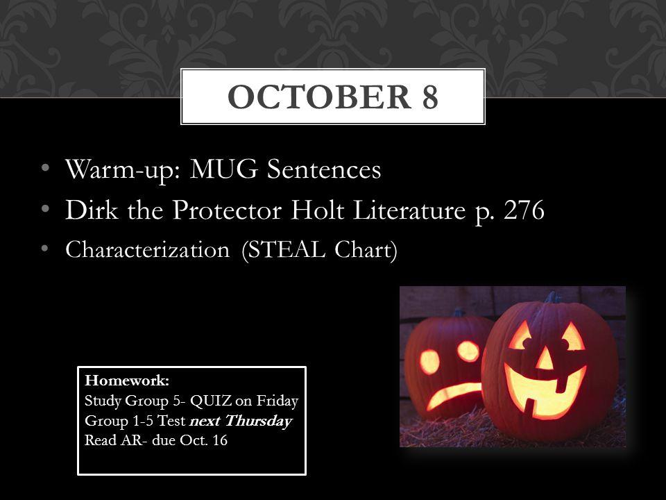 October 8 Warm-up: MUG Sentences