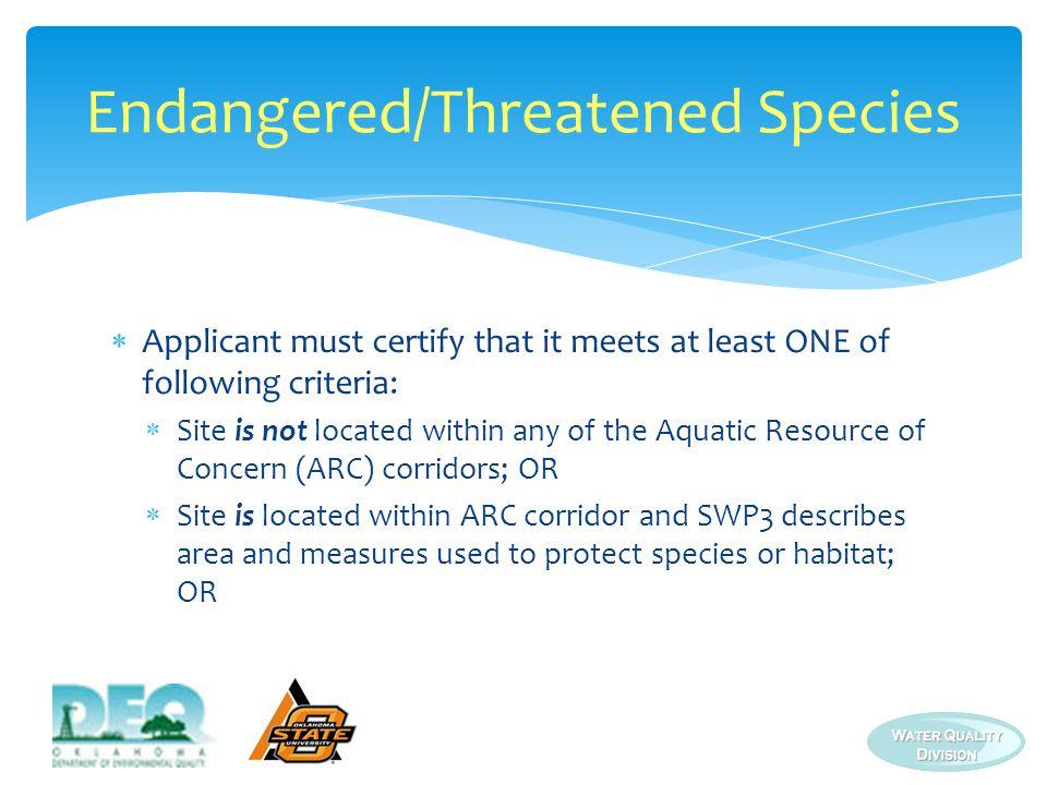 Endangered/Threatened Species
