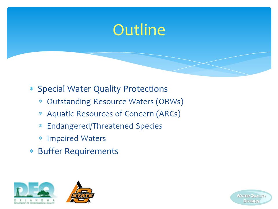 Outline Special Water Quality Protections Buffer Requirements