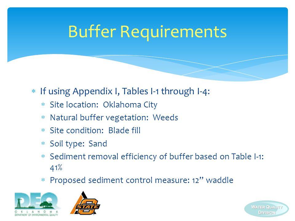 Buffer Requirements If using Appendix I, Tables I-1 through I-4: