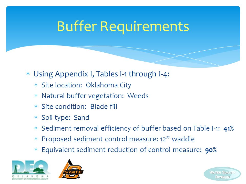 Buffer Requirements Using Appendix I, Tables I-1 through I-4: