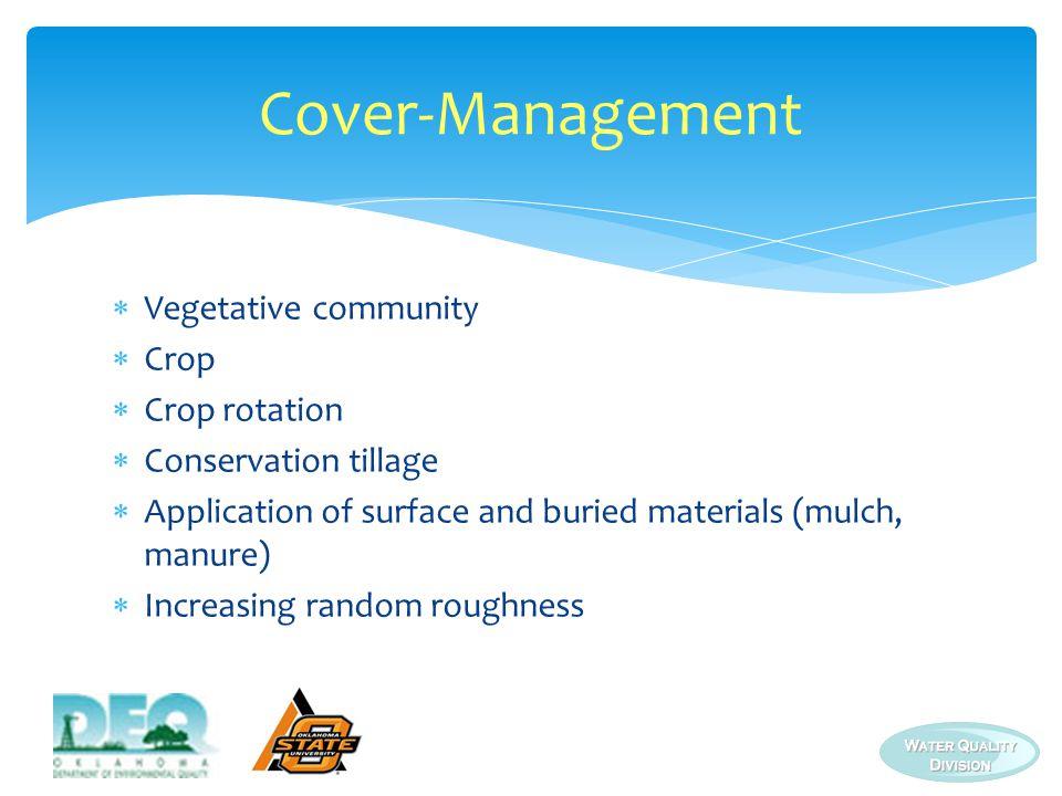Cover-Management Vegetative community Crop Crop rotation