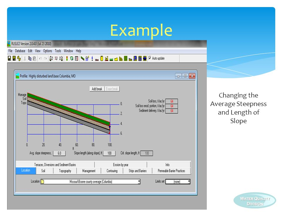 Changing the Average Steepness and Length of Slope