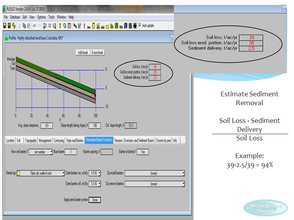 Estimate Sediment Removal