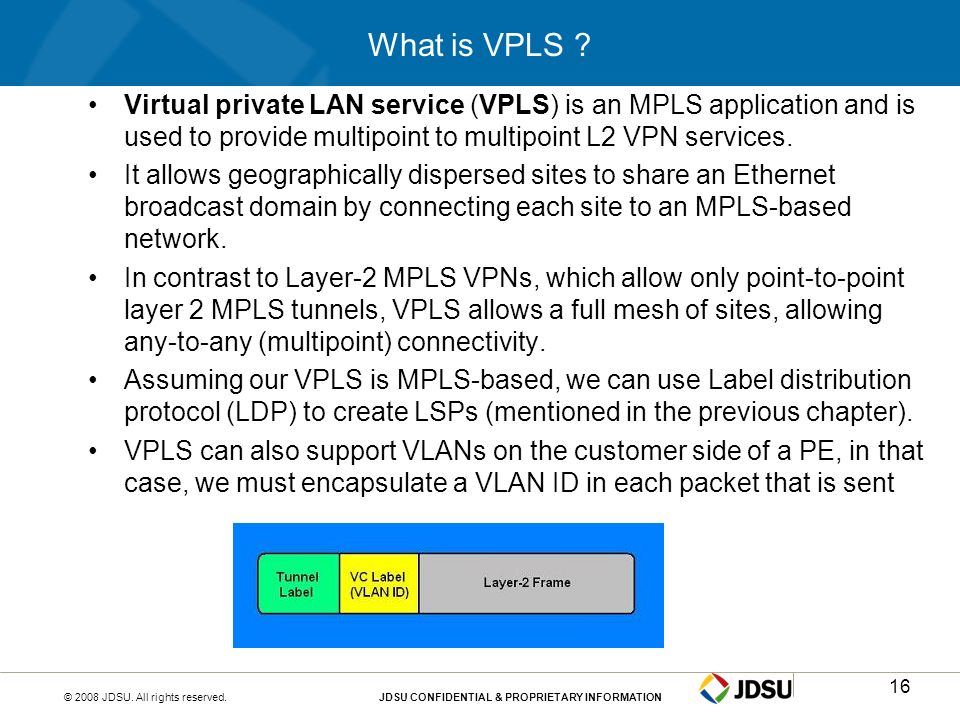What is VPLS Virtual private LAN service (VPLS) is an MPLS application and is used to provide multipoint to multipoint L2 VPN services.