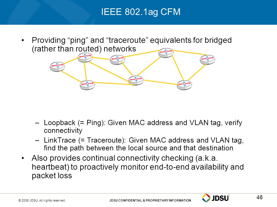 IEEE 802.1ag CFMProviding ping and traceroute equivalents for bridged (rather than routed) networks.