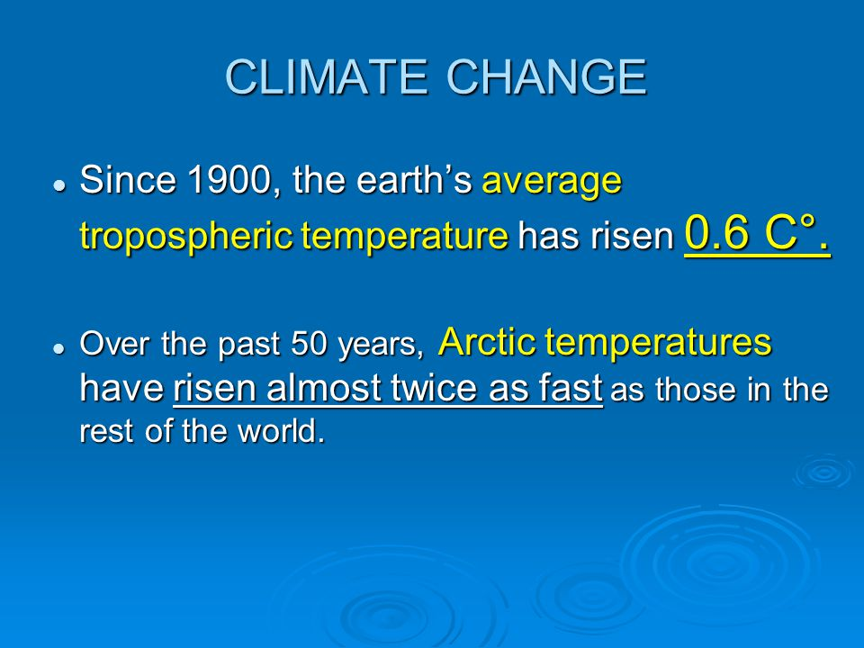 CLIMATE CHANGE Since 1900, the earth's average tropospheric temperature has risen 0.6 C°.