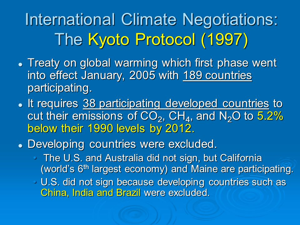 International Climate Negotiations: The Kyoto Protocol (1997)