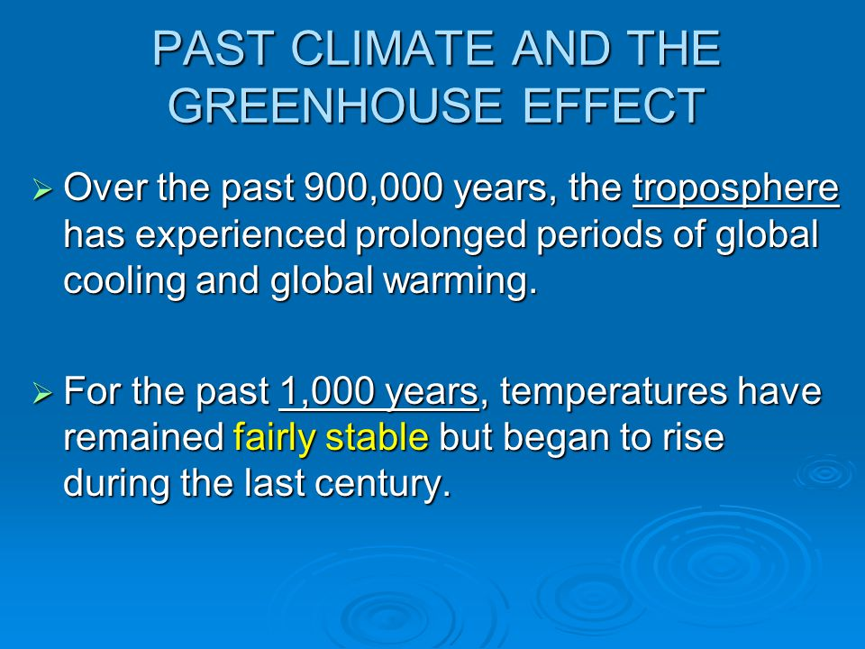PAST CLIMATE AND THE GREENHOUSE EFFECT