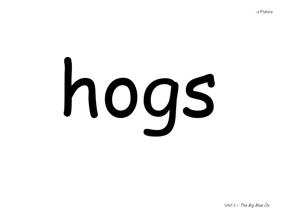 -s Plurals hogs Unit 1 – The Big Blue Ox