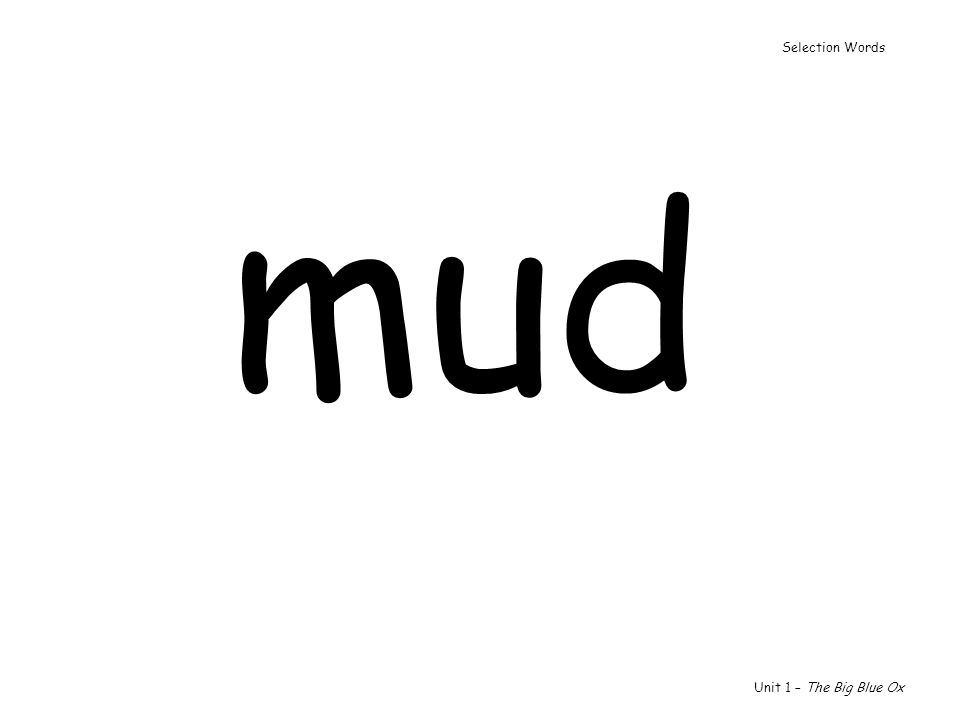 Selection Words mud Unit 1 – The Big Blue Ox