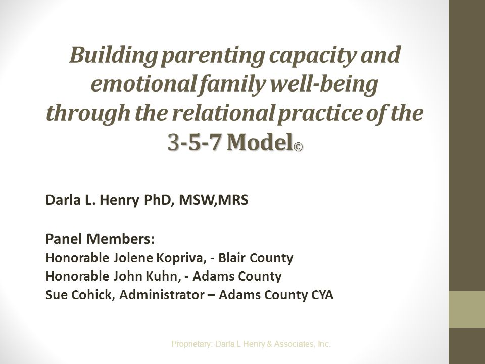 Building parenting capacity and emotional family well-being through the relational practice of the 3-5-7 Model©