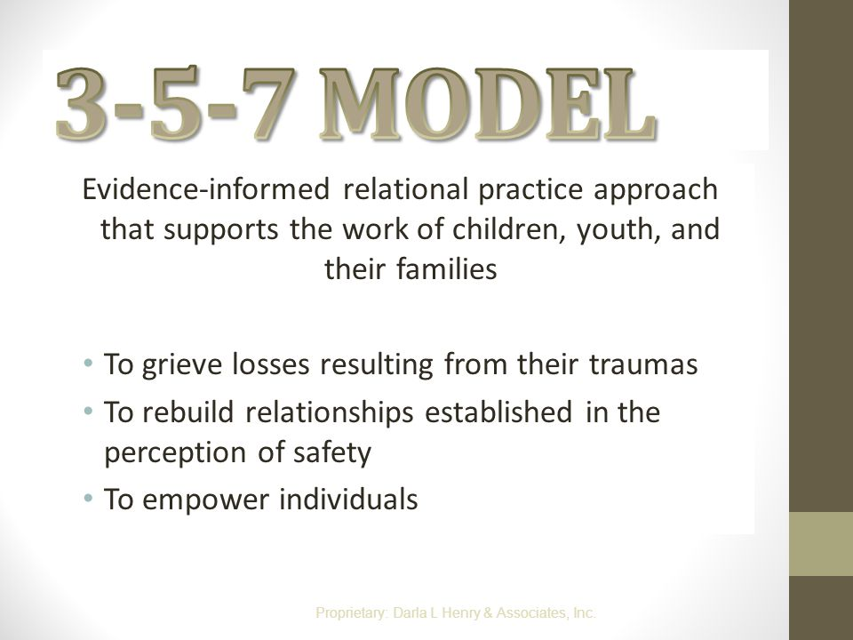 3-5-7 MODEL Evidence-informed relational practice approach that supports the work of children, youth, and their families.