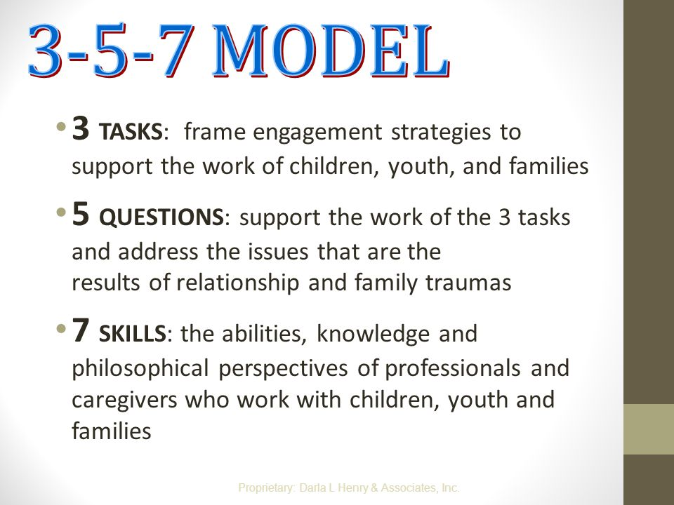 3-5-7 MODEL 3 TASKS: frame engagement strategies to support the work of children, youth, and families.