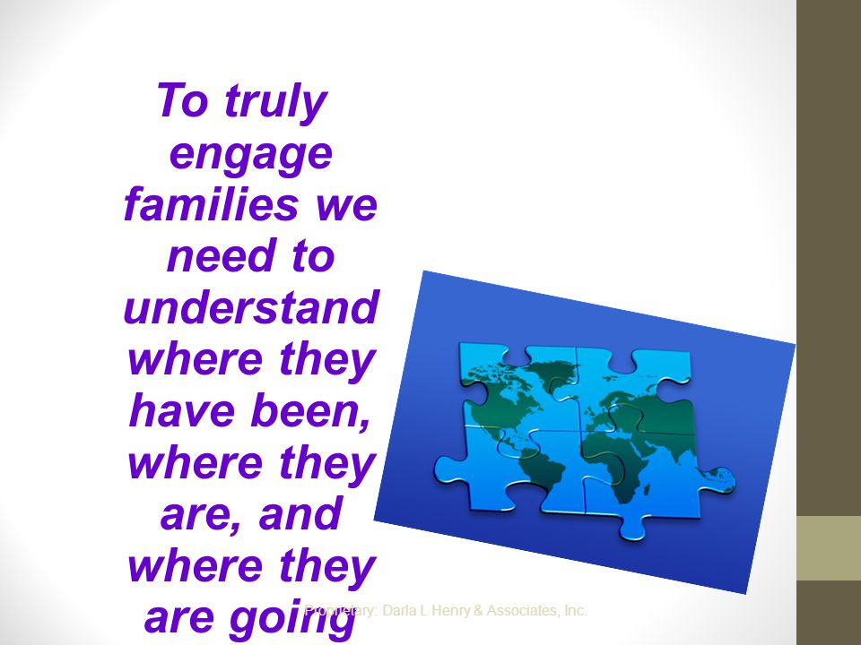 To truly engage families we need to understand where they have been, where they are, and where they are going