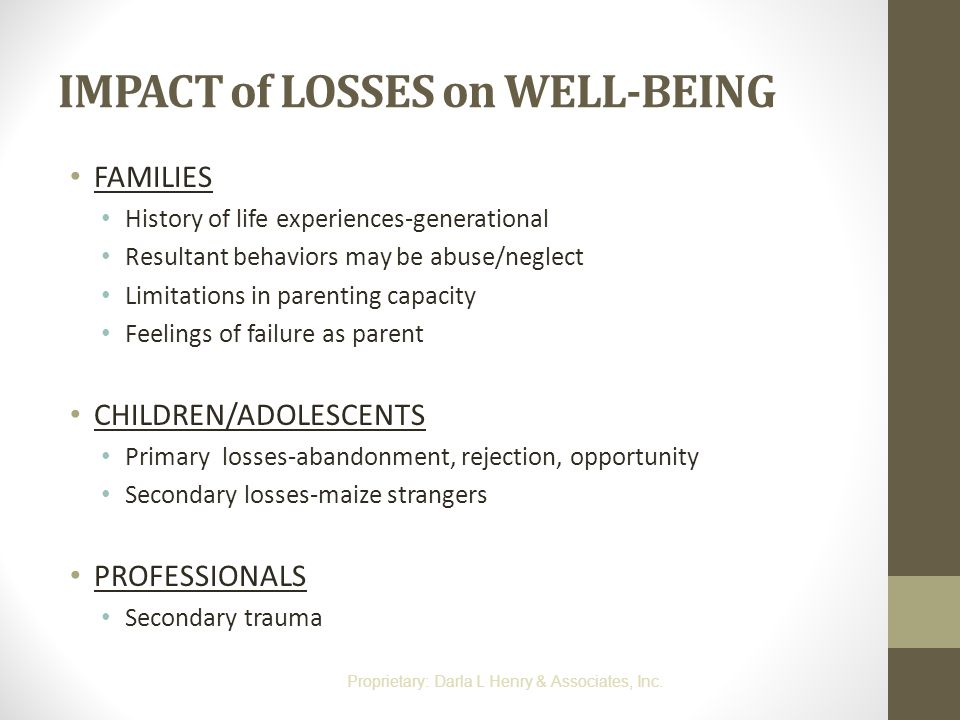 IMPACT of LOSSES on WELL-BEING