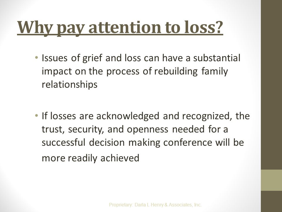 Why pay attention to loss