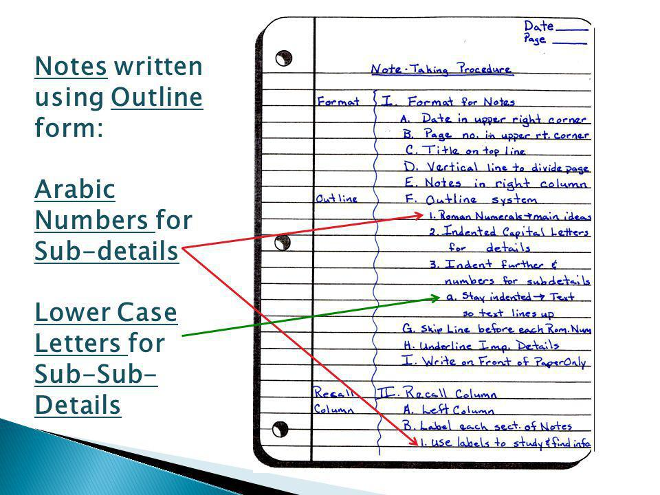 Notes written using Outline form: