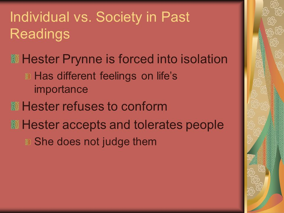 Individual vs. Society in Past Readings