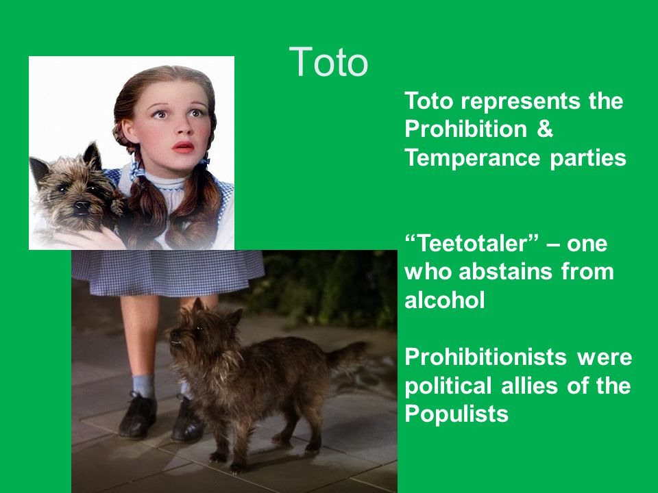 Toto Toto represents the Prohibition & Temperance parties