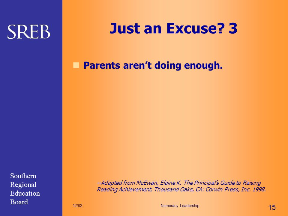 Just an Excuse 3 Parents aren't doing enough.