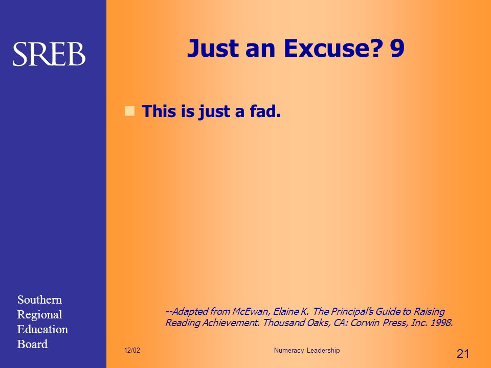 Just an Excuse 9 This is just a fad.