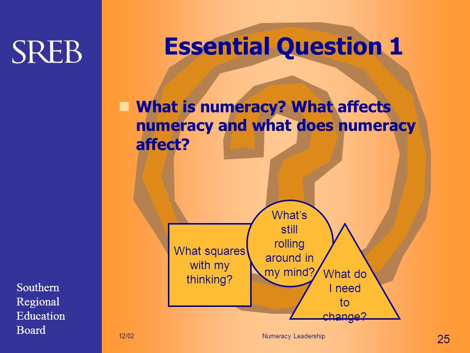 Essential Question 1 What is numeracy What affects numeracy and what does numeracy affect What squares with my thinking