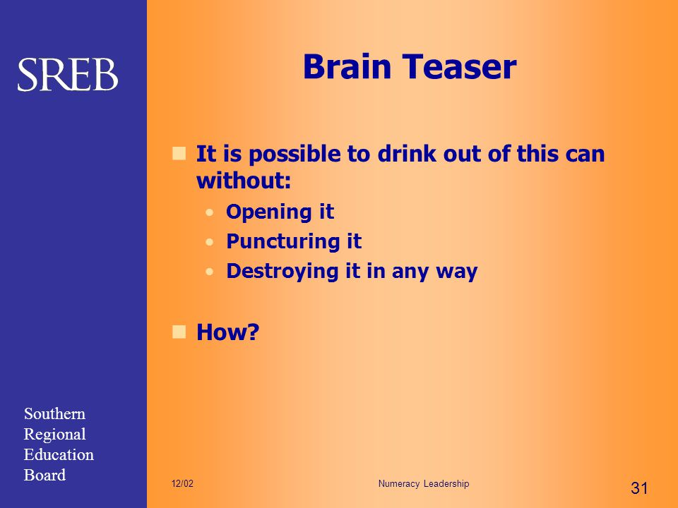 Brain Teaser It is possible to drink out of this can without: How