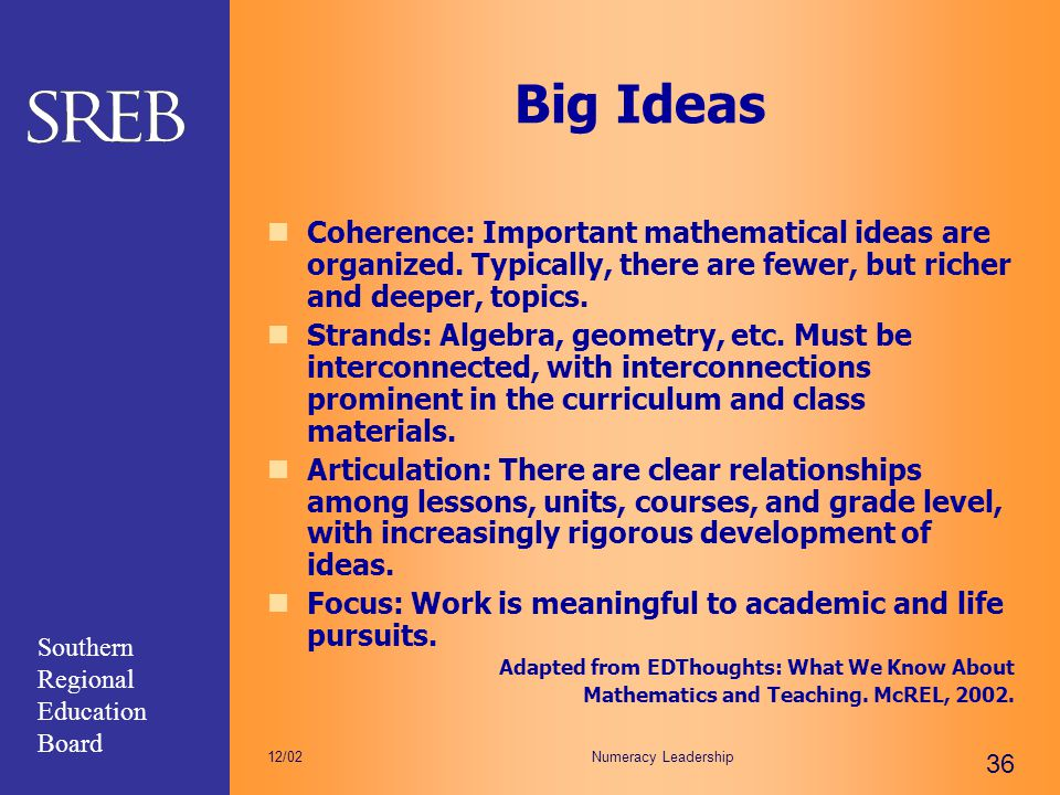 Big Ideas Coherence: Important mathematical ideas are organized. Typically, there are fewer, but richer and deeper, topics.