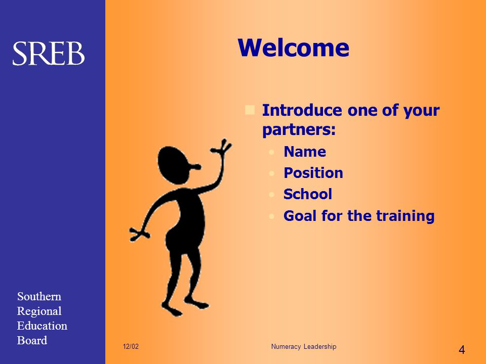 Welcome Introduce one of your partners: Name Position School