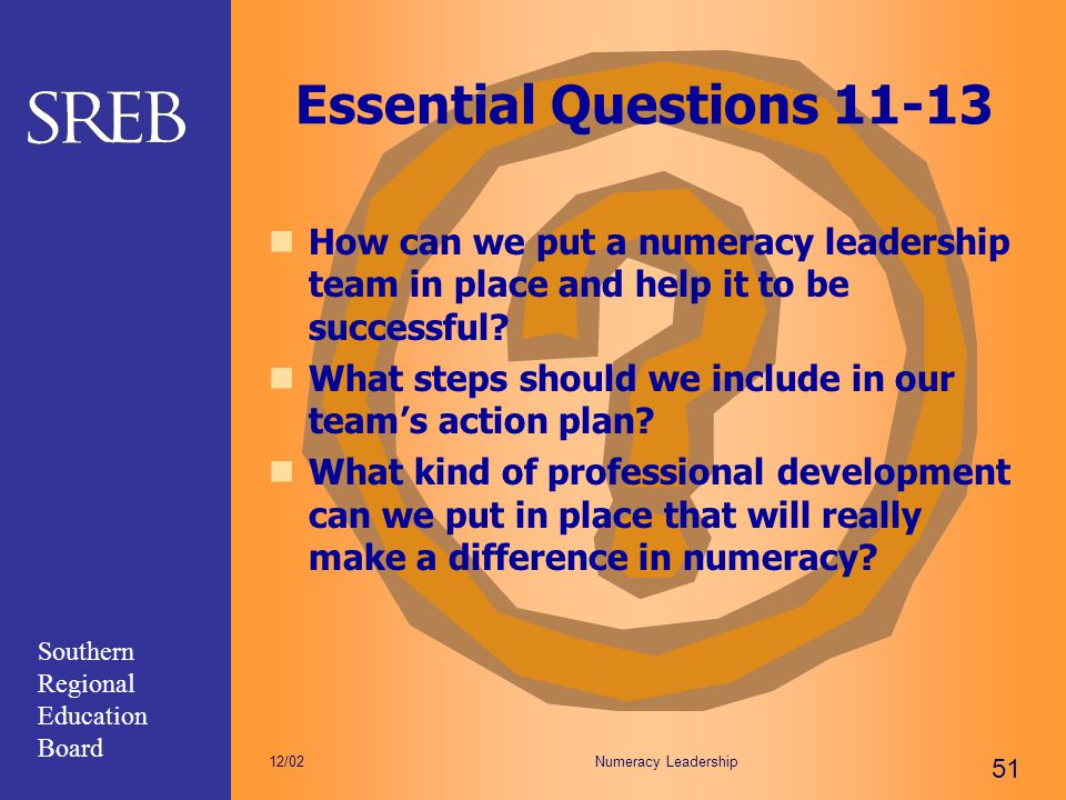 Essential Questions 11-13 How can we put a numeracy leadership team in place and help it to be successful