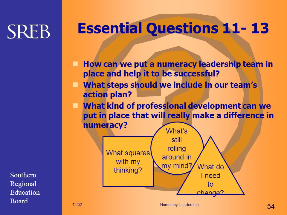 Essential Questions 11- 13 How can we put a numeracy leadership team in place and help it to be successful