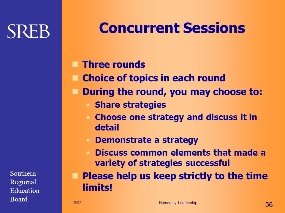 Concurrent Sessions Three rounds Choice of topics in each round