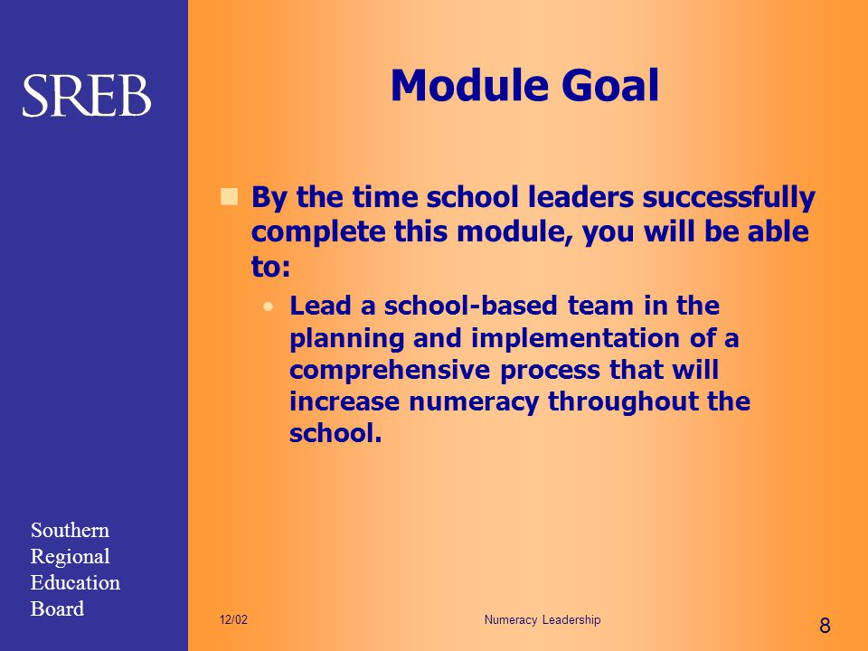 Module Goal By the time school leaders successfully complete this module, you will be able to: