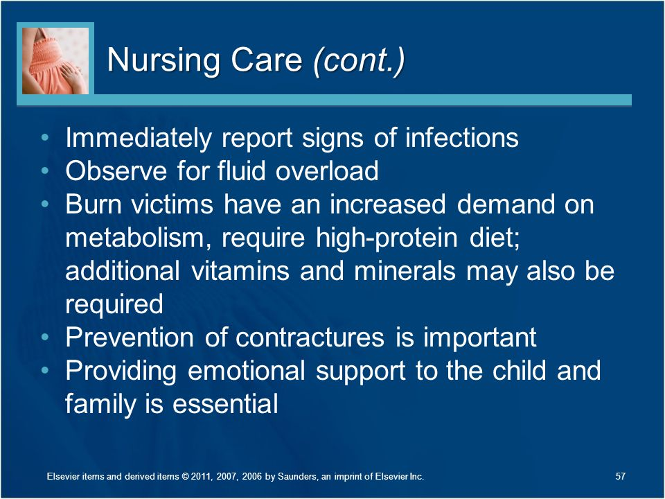 Nursing Care (cont.) Immediately report signs of infections