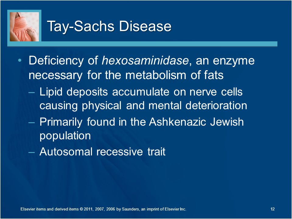 Tay-Sachs Disease Deficiency of hexosaminidase, an enzyme necessary for the metabolism of fats.