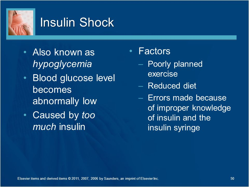Insulin Shock Factors Also known as hypoglycemia