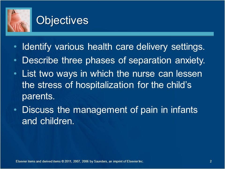 Objectives Identify various health care delivery settings.