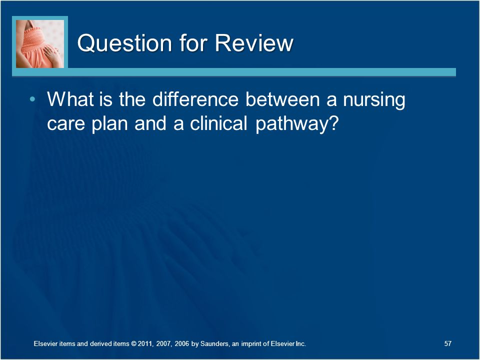 Question for Review What is the difference between a nursing care plan and a clinical pathway