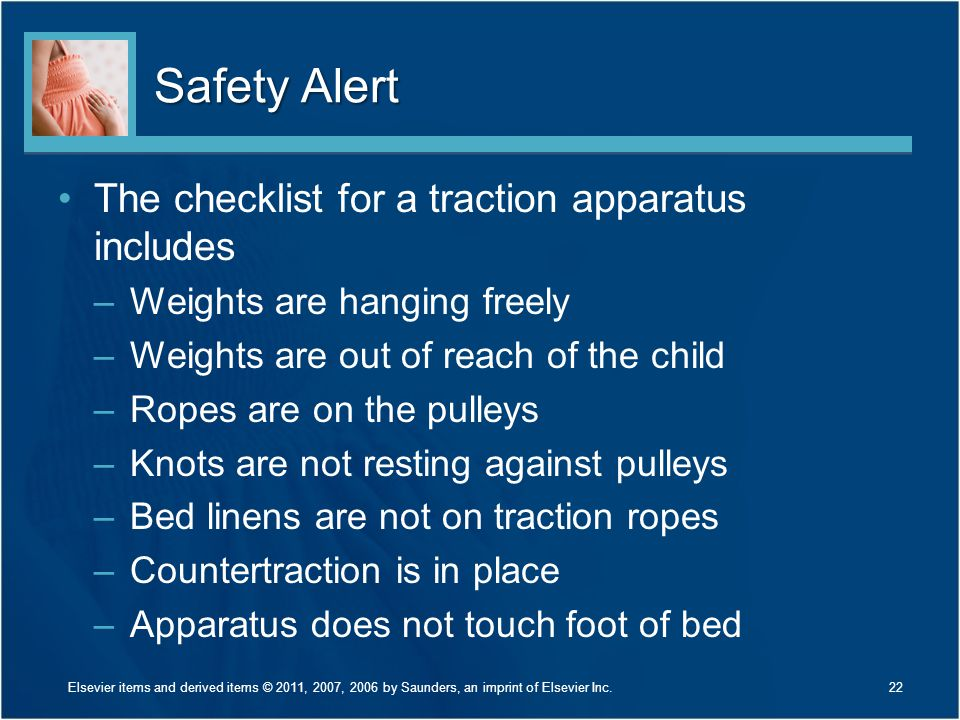 Safety Alert The checklist for a traction apparatus includes
