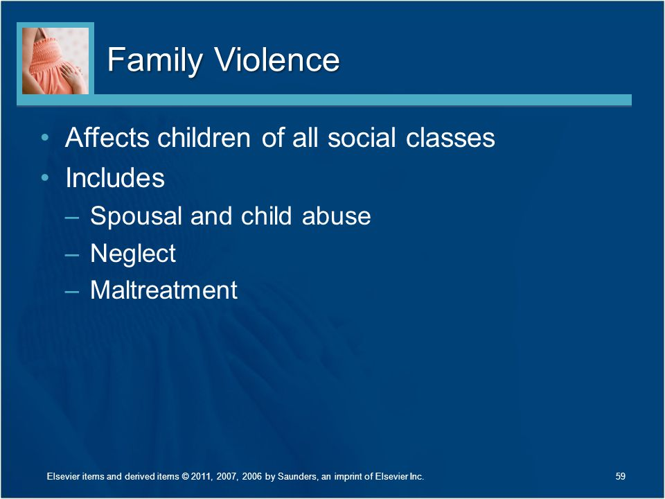 Family Violence Affects children of all social classes Includes