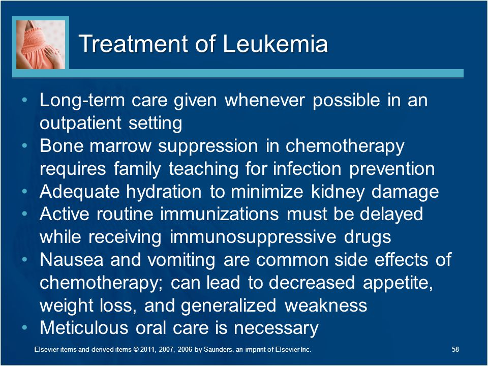 Treatment of Leukemia Long-term care given whenever possible in an outpatient setting.
