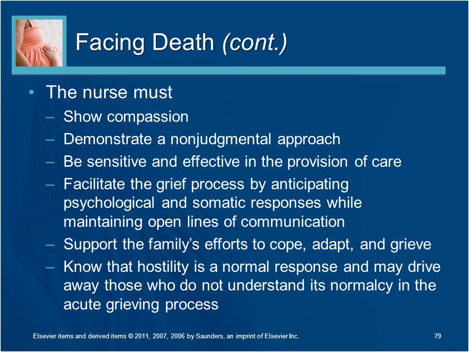 Facing Death (cont.) The nurse must Show compassion