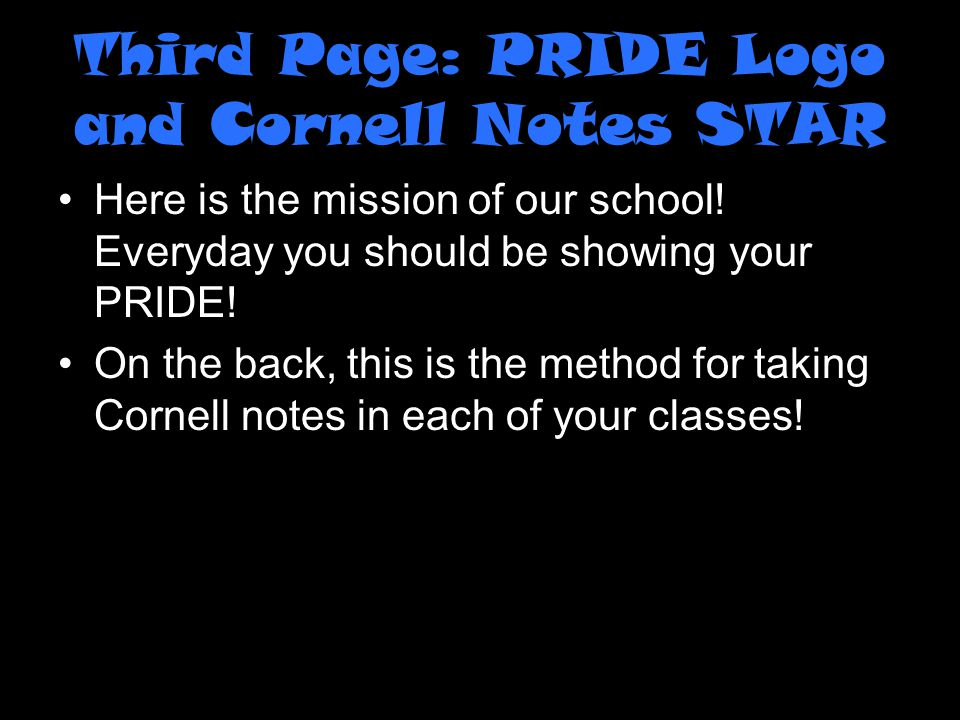 Third Page: PRIDE Logo and Cornell Notes STAR