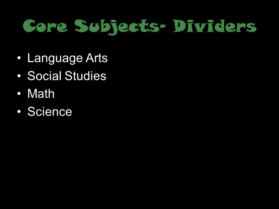Core Subjects- Dividers
