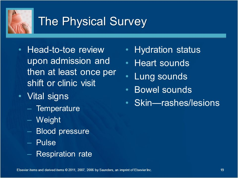 The Physical Survey Head-to-toe review upon admission and then at least once per shift or clinic visit.