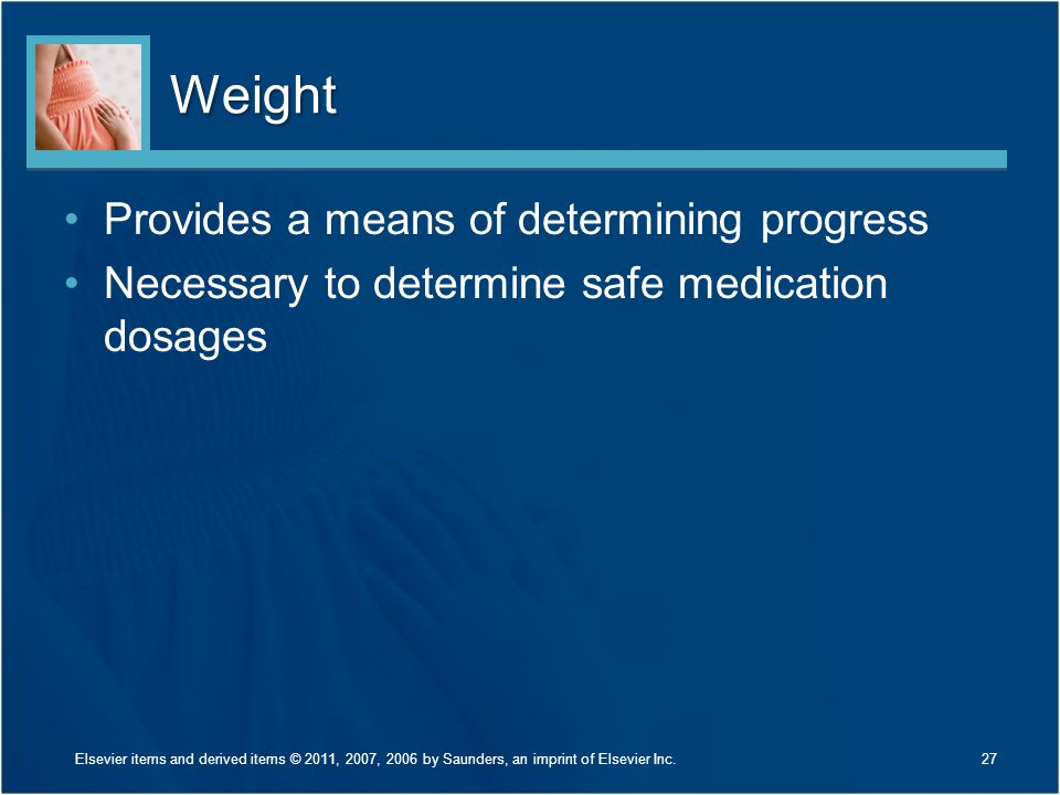 Weight Provides a means of determining progress